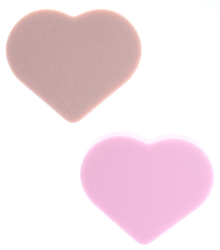 TITANIA Губка макияж 2шт/упГубки<br>Комплект поролоновых губок Titania в форме сердца для снятия/нанесения макияжа, 2 штуки.<br>