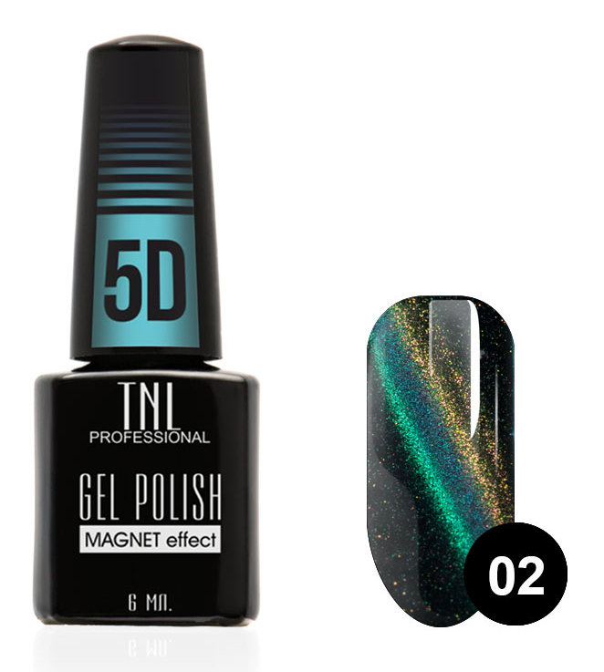 Купить TNL PROFESSIONAL 02 гель-лак для ногтей Кошачий глаз 5D, травянисто-каштановый 6 мл
