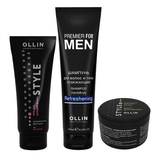 OLLIN PROFESSIONAL Набор (шампунь для волос и тела освежающий 250мл + воск для волос 50гр + гель для укладки волос 200мл) / PREMIER FOR MEN
