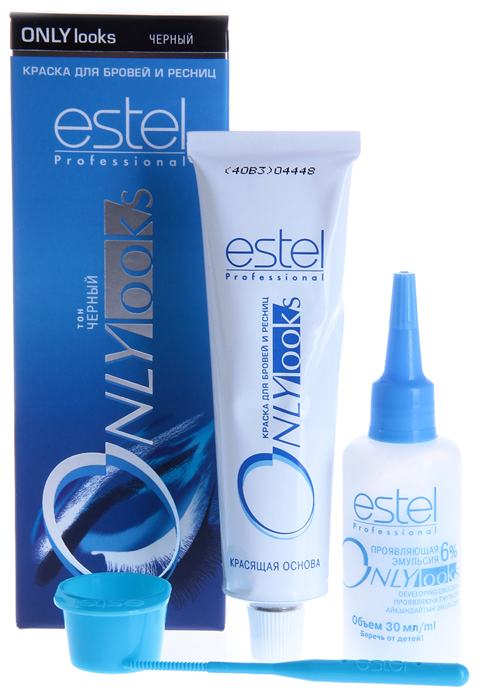 ESTEL PROFESSIONAL Краска для бровей и ресниц черный / Estel Only LooksКраски для бровей<br>Оттенок: Черный. Специальная краска ESTEL ONLY looks благоприятна для чувствительной кожи вокруг глаз, не содержит парфюмерных масел, имеет мягкую, удобную в обращении консистенцию и нейтральную величину pH. Полученный оттенок держится около 3-4 недель. Одной упаковки краски хватит для многократного использования в течение примерно 1 года. В комплект входит: туба с крем-краской мл, флакон с проявляющей эмульсией, баночка для смешивания, палочка для размешивания и нанесения Способ применения: Крем-краска смешивается в определенной пропорции с проявляющей эмульсией в мисочке для краски, размешивается палочкой или лопаточкой, затем наносится на подготовленные брови и/или ресницы.<br>