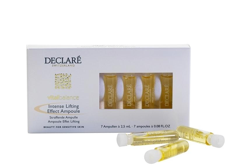 DECLARE Концентрант с интенсивным эффектом лифтинга в ампулах / Vital Balance Intense Lifting Effect 7*2,5млАмпулы<br>Концентрат действует как витаминный коктейль, мгновенно впитывается вглубь клеток кожи, восстанавливая ее естественное функционирование. Укрепляет соединительные ткани, что придает коже заметную эластичность и подтянутость. Средство отлично подтягивает контур лица, обеспечивает ему свежий и сияющий тон. Компоненты состава активизируют синтез коллагена и эластина, которые препятствуют появлению морщин и разглаживают уже присутствующие морщины. Для всех типов кожи, в особенности для усталой. Активные ингредиенты: экстракт водорослей, полисахариды, гиалуроновая кислота. Способ применения: нанести на очищенную кожу лица небольшое количество средства. Применять утром и/или вечером. После этого нанести основной крем-уход (избегать использование питательного крема, поскольку это уменьшит подтягивающий эффект концентрата).<br><br>Вид средства для лица: Подтягивающий<br>Назначение: Морщины