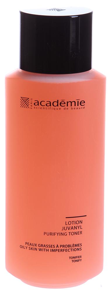 ACADEMIE Лосьон очищающий Юванил/ VISAGE 250млЛосьоны<br>Хорошо очищает кожу и стягивает поры. Благодаря коллоидной сере, экстракту розы и  волшебного ореха , идеально завершит очищение кожи с угревой сыпью. Очищенная матовая кожа. Для проблемной кожи с избытком липидов и высыпаниями. Активные ингредиенты: Розовая вода: 1.5% Вода гамамелиса: 0.8% Комплекс серы: 0.5% Кремний: 0.5% Гипоаллергенный активный ингредиент: 0.025% Концентрация активных ингредиентов 3,325% Способ применения: смочите ватный тампон и нанесите лосьон на лицо.<br><br>Объем: 250 мл<br>Вид средства для лица: Очищающий