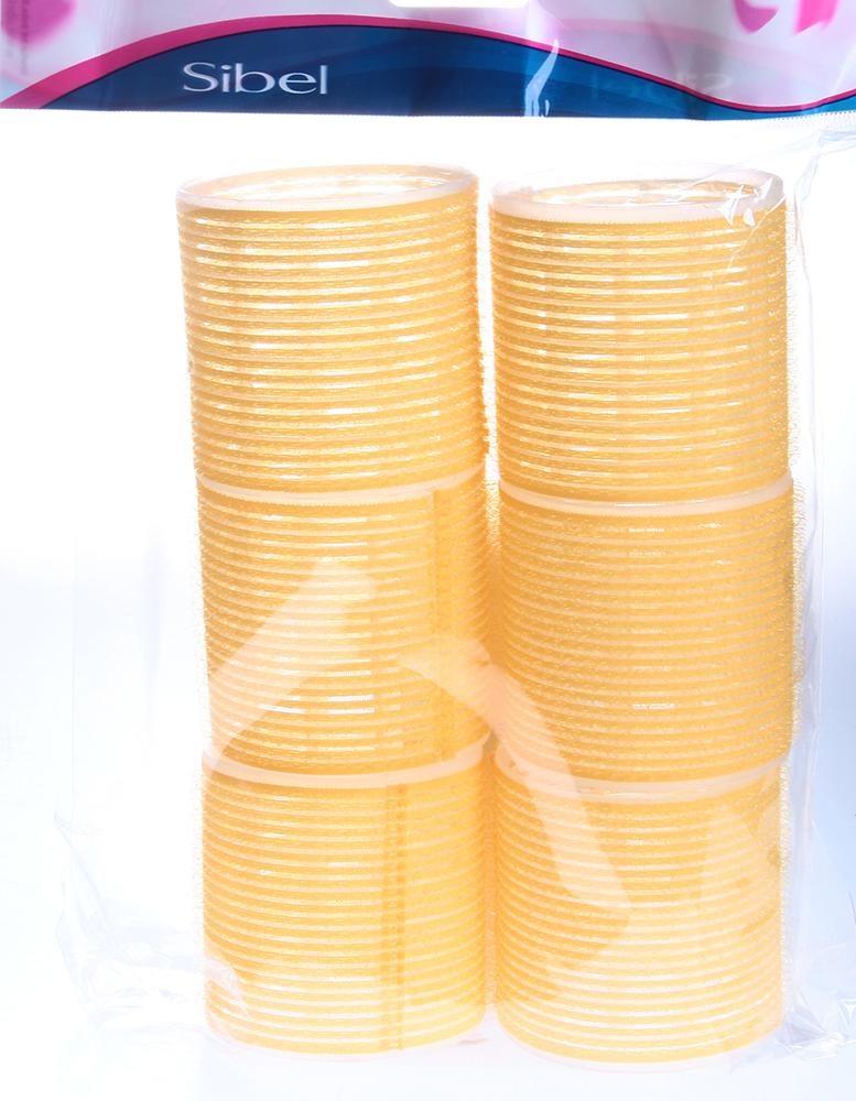 SIBEL Бигуди-лип.(10)S 66мм желтые 6шт/уп SibelБигуди<br>Бигуди 66 мм жёлтые с внешним слоем ворсистой ткани  липучка , 6 штук в упаковке. Бигуди на липучках дают возможность очень быстро нанести их на волосы благодаря наличию на них мелких ворсинок  липучек , они не закрепляются на волосах специальными приспособлениями, поэтому позволяют довести локон до самых корней волос не оставляя следов от зажимов и резинок.<br>