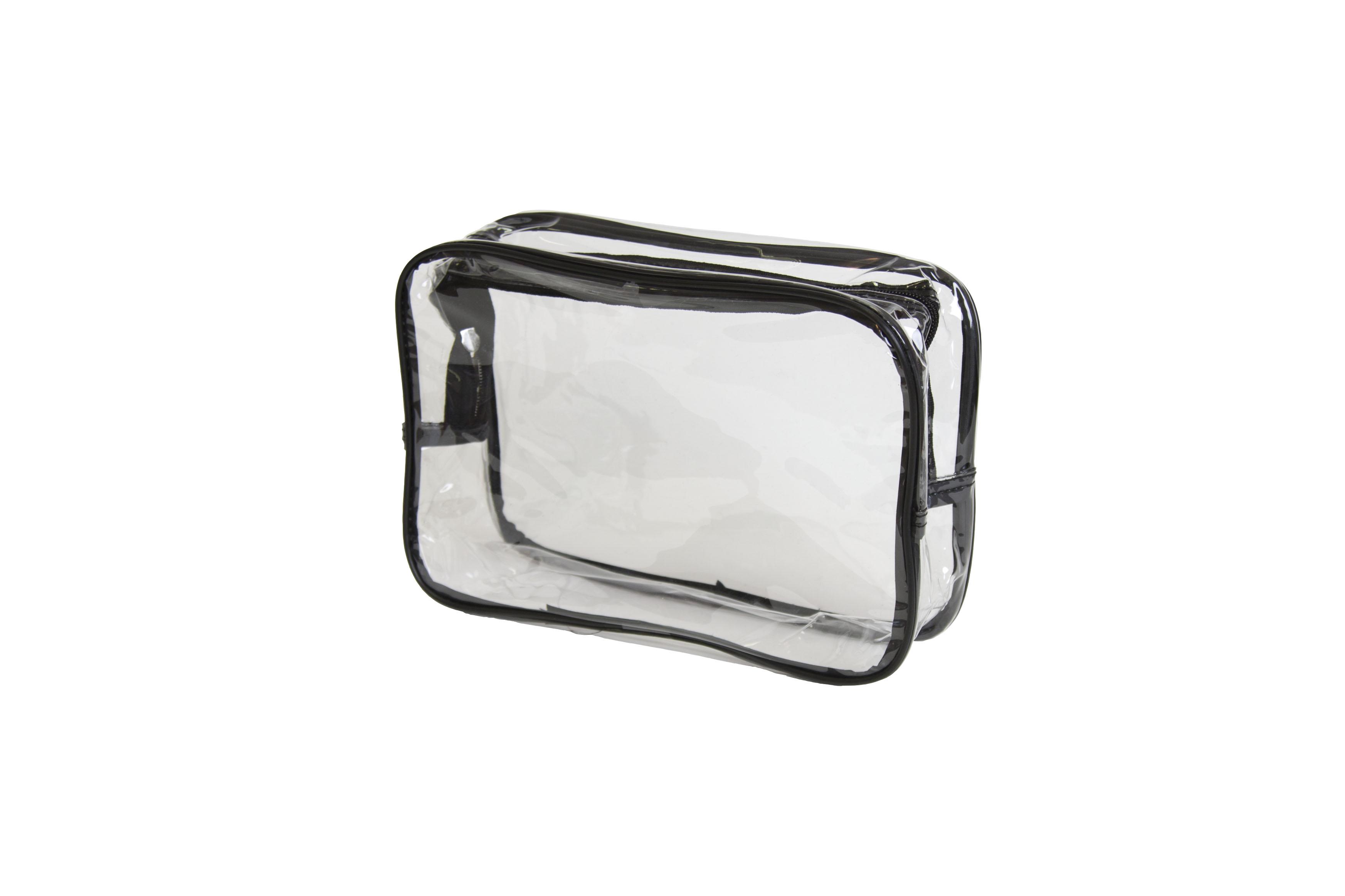 SIBEL Косметичка прозрачная с черной гранью / Sibel, 19х27см