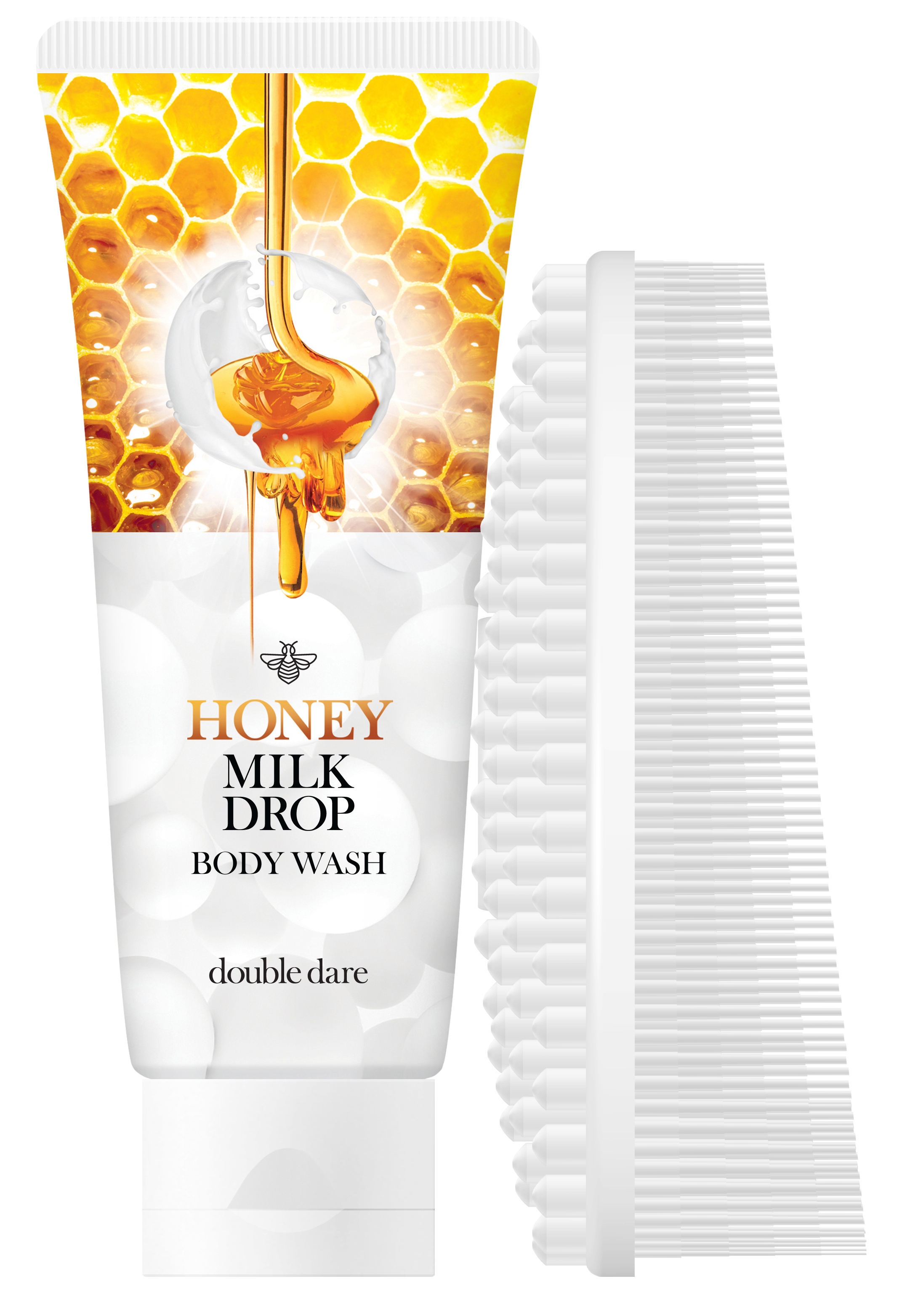 DOUBLE DARE OMG! Набор гель медовый с молочными гранулами для очищения тела + щетка массажная силиконовая, белая / Honey Milk Drop & I.M. BUDDY - Наборы