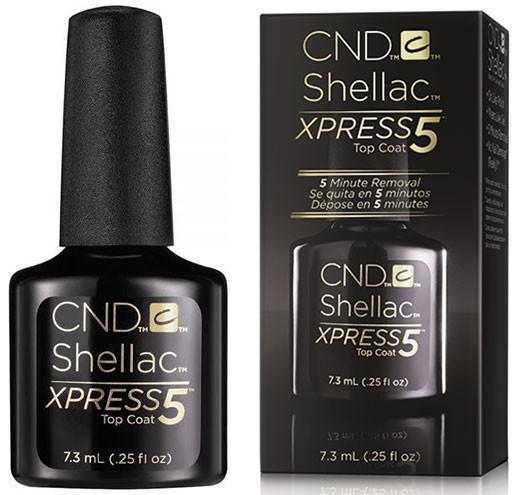 CND Покрытие верхнее CND SHELLAC Xpress5 Top Coat 7,3млВерхние покрытия<br>CND Shellac Xpress5 Top Coat   это инновационная формула, которая обеспечивает невероятную лёгкость нанесения за счёт вязкости покрытия, устойчивость к царапинам, плотность, прочность и стойкость цвета в течение 14+ дней даже на тонких ногтях. Кроме того, уникальная технология отвечает за создание специальных полимерных цепочек, пронизывающих покрытие от верхнего до нижнего слоя, за счёт которых обеспечивается невероятная стойкость, удивительный кристаллический блеск, а также удаление CND Shellac всего за 5 минут. Способ применения:&amp;nbsp;наносится как обычный лак с помощью кисточки из флакона Каждый слой сушится в лампе в течении 40 секунд Покрытие держится на ногтях 2 недели, снимается с помощью ацетоносодержащей жидкости путем замачивания на 5 минут<br><br>Объем: 7.3 мл<br>Виды лака: Глянцевые