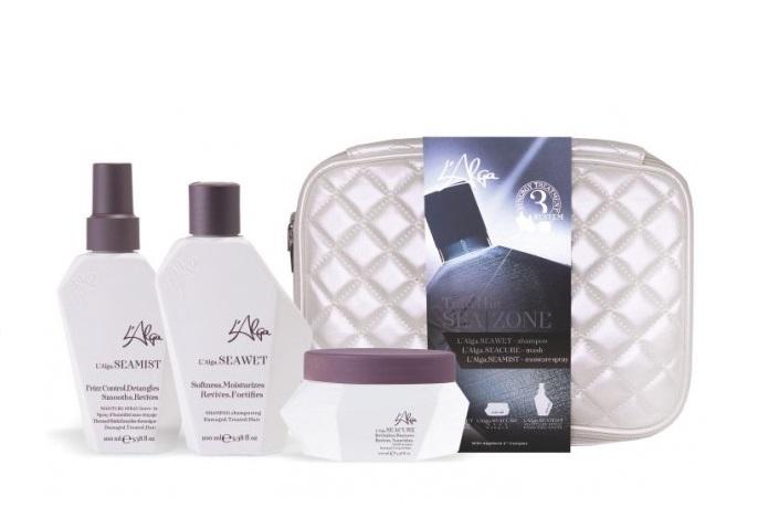 Купить L'ALGA Набор Термозащита волос со спреем (шампунь 100 мл, спрей 100 мл, маска 100 мл, косметичка) Seazone Beauty Bag