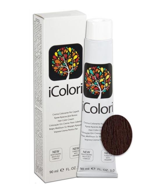 KAYPRO 5.2 краска для волос, светло-каштановый фиолетовый / ICOLORI 90млКраски<br>Инновационный стойкий краситель с минимальным содержанием аммиака. Так же содержит Аргинин, применение которого в профессиональных косметических средствах направлено на стимулирование роста волос, расширение сосудов кожи головы, способствует улучшению кровоснабжения и общему оздоровлению волосяного покрова. После окрашивания волосы становятся более блестящими и шелковистыми, цвет держится дольше. Все цвета можно смешивать между собой для получения широкого диапазона цветов. Крем-краска обладает повышенной степенью увлажнения, равномерной плотностью и стойкостью цвета - естественные цвета с богатыми тонами. Краситель был специально разработан, чтобы защитить волосы и кожу головы во время окрашивания. Легкий в применении. Способ применения: внимательно прочитайте инструкцию на упаковке! Всегда наносится на сухие немытые волосы! Не использовать металлические емкости для смешивания! Всегда одевать защитные перчатки! Провести предварительно тест на чувствительность. Определить натуральный уровень тона волос или уровень косметического тона окрашенных волос. Выберите желаемый цвет. Подготовить красящую смесь с наиболее подходящим процентом перекиси водорода iColori: 10 vol (3%) — 20 vol (6%) — 30 vol (9%) — 40 vol (12%). &amp;nbsp; Действие &amp;nbsp; Результат &amp;nbsp; Пропорции смешивания &amp;nbsp; &amp;nbsp;Оксидант &amp;nbsp; Время выдержки &amp;nbsp; Тон осветления &amp;nbsp; Перманентное окрашивание &amp;nbsp; 100&amp;nbsp;% окрашивание седых волос &amp;nbsp; 1:1,5 &amp;nbsp; 10-20-30-40 Vol &amp;nbsp; 30-40 &amp;nbsp; 1-3 &amp;nbsp; Осветление &amp;nbsp; &amp;nbsp; 1:2 &amp;nbsp; 40&amp;nbsp;Vol &amp;nbsp; 40-50 &amp;nbsp; 4 &amp;nbsp; Тонирование &amp;nbsp; Окрашивание седых волос на&amp;nbsp;70&amp;nbsp;% &amp;nbsp; 1:2 &amp;nbsp; 7&amp;nbsp;Vol &amp;nbsp; 20-25 &amp;nbsp; - Основные принципы теории цвета. Основные цвета: красный, желтый и синий. Путем смешивания основных цветов в