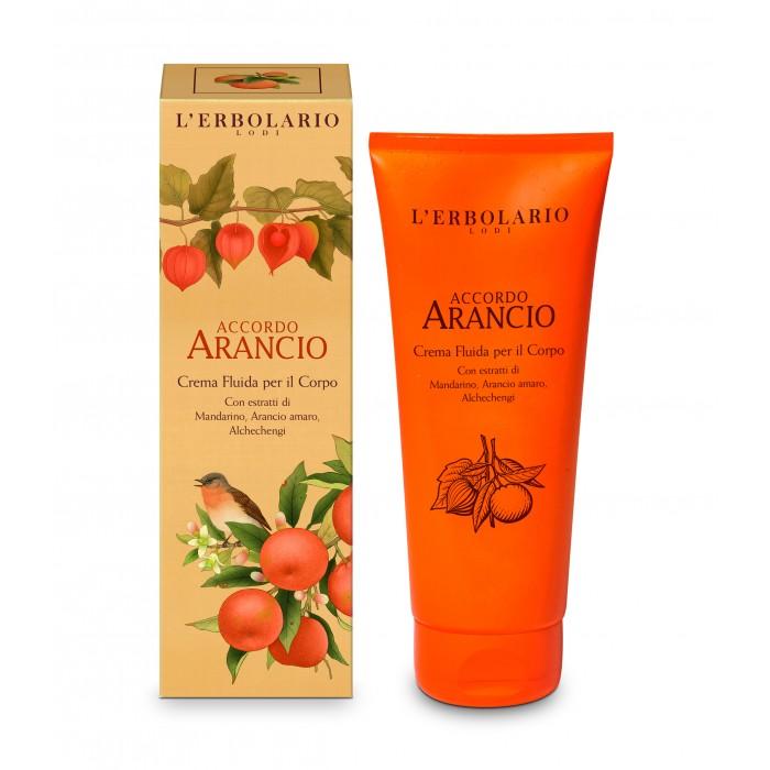 LERBOLARIO Крем жидкий для тела Апельсин 200млЭмульсии<br>Приятный жидкий крем серии Апельсин подарит вам ощущение жизненного благополучия своим сладким и свежим ароматом. После каждого нанесения ваша кожа будет чувствовать себя более увлажненной, мягкой и бархатистой. Экстракты входящие в состав крема оказывают защитное и тонизирующее свойство, делают кожу эластичной и упругой. Масло из семян апельсина и подсолнечное масло, вместе с неомыляемыми фракциями оливкового масла обеспечивает питательный и смягчающий эффект. Активные ингредиенты: экстракты мякоти, цедры и листьев танжерина, цедры померанца (горького апельсина) и фрукта физалиса, масло из семян апельсина, подсолнечное масло, неомыляемая фракция оливкового масла. Способ применения: после ванны или душа, осторожно нанести на все тело, легкими плавными движениями.<br>