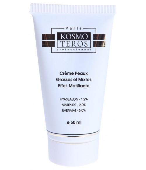 KOSMOTEROS PROFESSIONNEL Крем для жирной и комбинированной кожи с матирующим эффектом 50млКремы<br>Крем с матирующим эффектом входит в Комплекс SEBALON - для жирной и проблемной кожи. Обеспечивает оптимальное увлажнение кожи, сокращает поры, сохраняет баланс, сокращает появление черных точек, придаёт матовость и бархатистость коже. Активные ингредиенты: HYASEALON 1,2%, EVERMAT 5,0%, MATIPURE 2,0%, олеаноловая кислота, экстракт энантии хлоранта, глицерил стеарат, цетеарет   20, цетеарет   12, масло ши, алюмосиликат магния, масло семян черного тмина, масло тыквенного семени, фосфолипиды, глицерин, фир каприлового спирта, ПЭГ   20 сорбитан олеат, гиалуроновая кислота, коллаген нативный,эластин,оксипролин, аспарагиновая кислота,серин,аланин, кстракт жимолости. Способ применения: нанести крем на очищенную кожу лица, шеи и декольте.<br><br>Вид средства для лица: Матирующий<br>Назначение: Черные точки