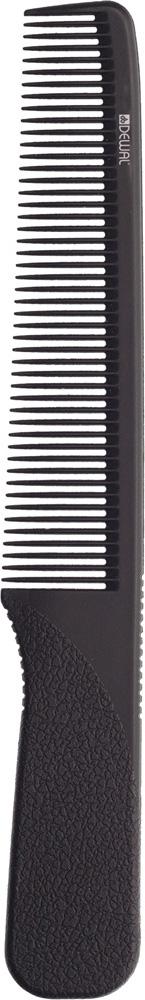 DEWAL PROFESSIONAL Расческа рабочая Super thin с ручкой, узкая (черная) 17,5 см