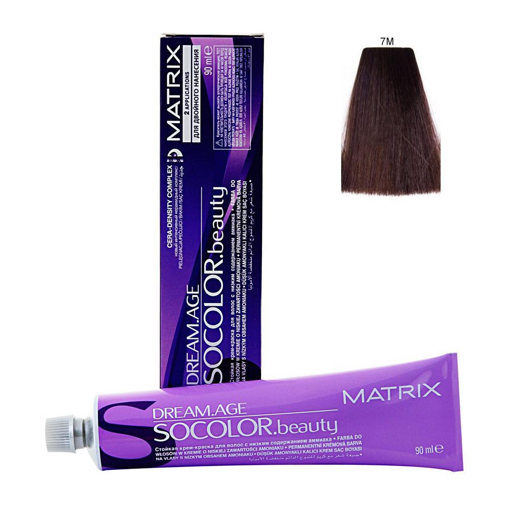 MATRIX 7M краска для волос / СОКОЛОР БЬЮТИ D-AGE 90млКраски<br>Крем-краска Dream Age специально разработана для проведения окрашивания седых волос. Оттенки для волос с содержанием седины более 50%. Применение запатентованной технологии ColorGrip обеспечивает четкий и яркий оттенок, благодаря самонастраивающимся красителям, которые взаимодействуют с натуральным пигментом волоса. Также в состав краски входит кондиционер Cera-Oil, что обеспечивает бережных уход, укрепляет и питает структуру волос. Крем-краска удобно наносится и обладает приятным фруктовым ароматом. Богатый пигментами краситель: 100% закрашивание седины Мультирефлективный цвет Формула с низким содержанием аммиака Технология Pre-Softenung смягчает резистентный седой волос перед окрашиванием Не нужно смешивать с другими оттенками Используется с 6% Крем-Оксидантом Способ применения: смешайте краску с активатором в нужных пропорциях, после чего нанесите смесь на волосы и оставьте на 20-45 минут. После процедуры тщательно смойте краску теплой водой и высушите волосы полотенцем.<br><br>Цвет: Блонд<br>Объем: 90