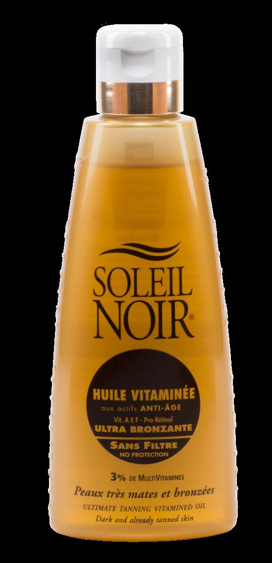 SOLEIL NOIR Масло антивозрастное витаминизированное Ультра-загар / HULE VITAMINEE 150млМасла<br>Классическое масло для истинных любителей солнечных ванн, а также обладателей темного оттенка кожи. Драгоценные масла и витаминный комплекс, входящие в состав этих средств, способствуют глубокому увлажнению и регенерации кожи. Жидкая и легкая текстура очень приятна при нанесении. Результат   бархатистая кожа с ровным загаром естественного золотистого оттенка. Средство подходят для ежедневного ухода за кожей, а также для применения в солярии, поэтому им можно пользоваться в течение всего года, а не только на курорте. Активные ингредиенты:   Витамины А, Е, С и F c жирными кислотами Омега-3 оказывают антиоксидантное действие и предотвращают образование свободных радикалов   Провитамин В5 способствует регенерации, повышению эластичности и смягчению кожи   Масла оливы, зародышей пшеницы, кунжута, вечерней примулы и бурачника питают и восстанавливают   Масло мускусной розы нормализует обменные процессы   Масло моркови улучшает регенерацию Способ применения: нанести перед выходом на солнце или перед посещением солярия. Обновлять слой средства по необходимости.<br>