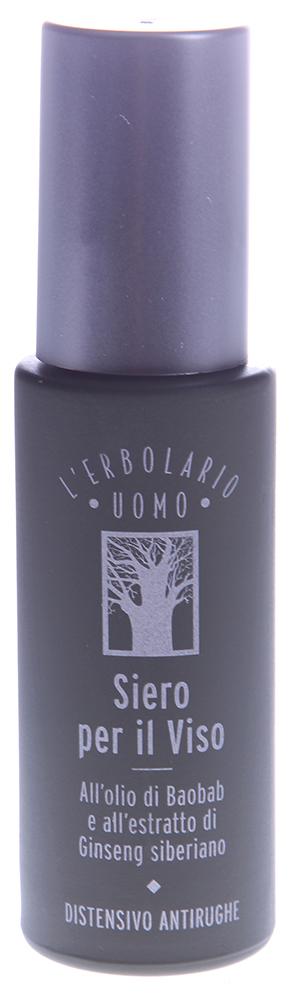 LERBOLARIO Сыворотка с маслом баобаба и экстрактом женьшеня для лица 30 млЛицо<br>Важнейший компонент сыворотки &amp;ndash; масло, полученное из семян баобаба, его насыщенные жирные кислоты, такие как пальмитиновая, стеариновая и арахидоновая, идеально подходят сухой и увядающей коже, т.к. повышают ее тонус, придают разглаживание, эластичность, снабжение питательными веществами и невероятно мягкую поверхность кожного покрова. Экстракт женьшеня дополняет воздействие сыворотки   он создает тончайшую невидимую пленку на поверхности кожи, которая моментально разглаживает мелкие морщины, не способствуя стягиванию кожи   такой разглаживающий эффект сохраняется на целый день.  Еще одним полезнейшим компонентом крема для мужчин стал экстракт, полученный из красной водоросли. Он направляет свое воздействие на выработку энергии и улучшение клеточного обмена, на придание коже гладкого и здорового вида. Наши специалисты из экстракта сладкого миндаля получили белковый биополимерный комплекс, который при регулярном, ежедневном использовании выравнивает кожу, ее неровные участки, оставляя удивительную гладкость и заметное сияние. Компоненты рожкового дерева способствуют приданию здорового цвета кожи, а также смягчению ее поверхности и защите от сухости, которая сохраняется даже в моменты пребывания в особо сухом климате. Провитамин В5 несет коже мужчин увлажнение и свойства по уплотнению эпидермиса, а бета-глюкан борется со свободными радикалами, омолаживая кожу, и укрепляет защитные механизмы, которые являются активными помощниками в защите от солнца, мороза и прочих агрессивных воздействий.  Способ применения: Ежедневно после утреннего и вечернего умывания, перед применением крема, наносите сыворотку с маслом баобаба и экстрактом женьшеня. Возьмите несколько капель средства на кончики пальцев и распределите его по всей поверхности лица с помощью вбивающих похлопывающих движений, до впитывания. Природные компоненты сыворотки усиливают свое воздействие при сочетании с кремом на ос