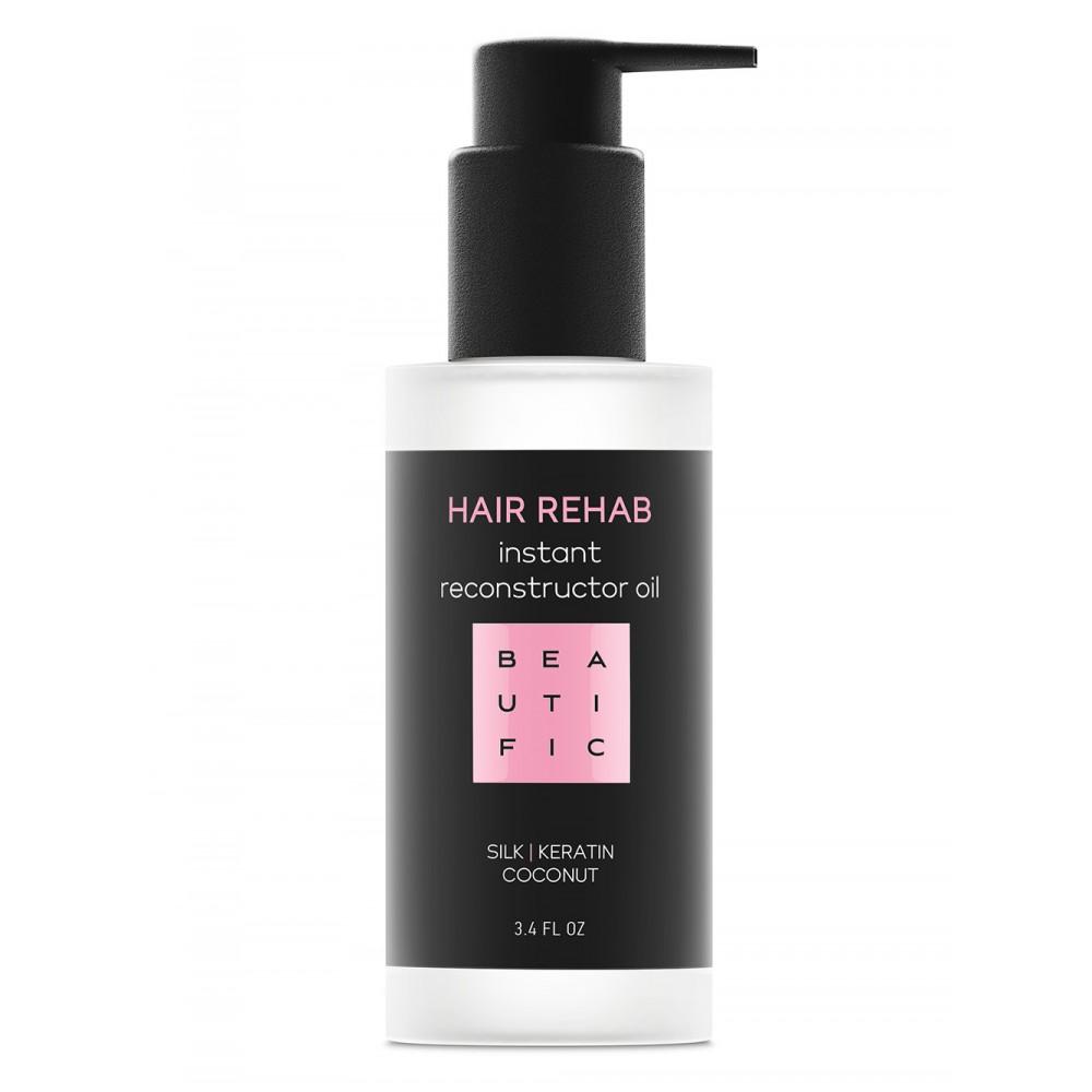 Купить BEAUTIFIC Масло-реконструктор супер-восстанавливающее для поврежденных волос с кератином и шелком / Hair Rehab 100 мл