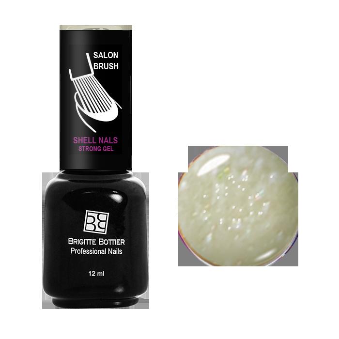 BRIGITTE BOTTIER 988 гель-лак для ногтей, бледно-желтый с мелкими блестками / Shell Nails 12 мл brigitte bottier покрытие базовое для гель лака shell nails base coat 12мл