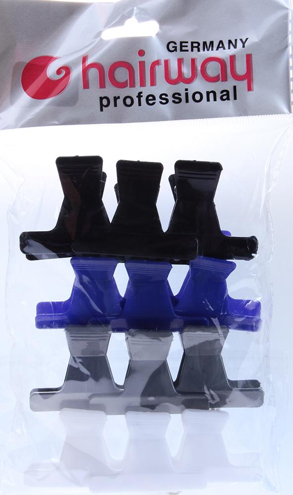 HAIRWAY Зажим пластиковый разные цвета 45мм, 12шт/упЗажимы <br>Зажим для волос пластиковый 45 мм. 12 шт./уп.<br>