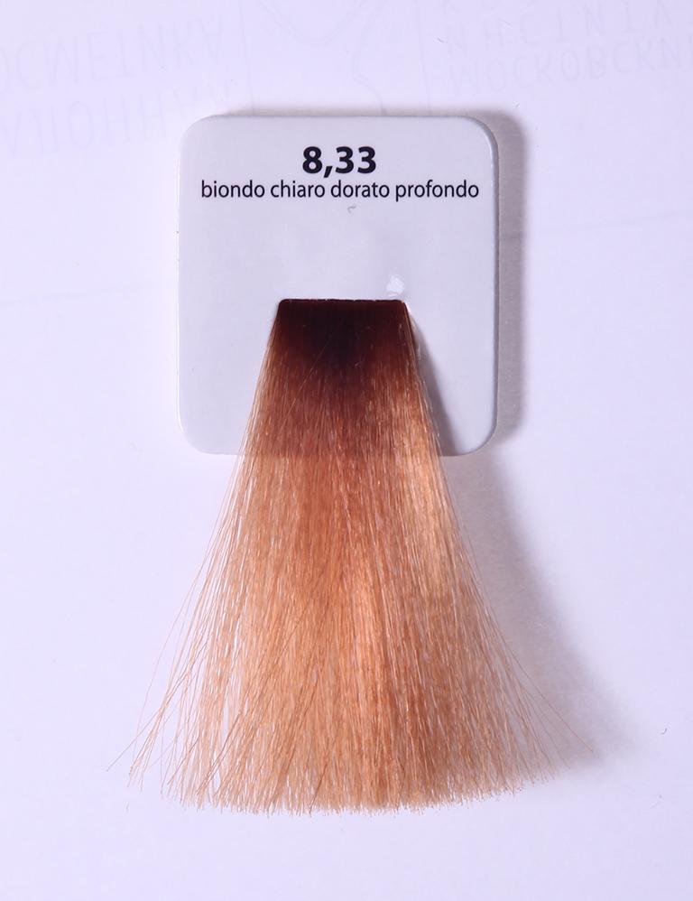 KAARAL 8.33 краска для волос / Sense COLOURS 100млКраски<br>8.33 глубокий светлый золотистый блондин Перманентные красители. Классический перманентный краситель бизнес класса. Обладает высокой покрывающей способностью. Содержит алоэ вера, оказывающее мощное увлажняющее действие, кокосовое масло для дополнительной защиты волос и кожи головы от агрессивного воздействия химических агентов красителя и провитамин В5 для поддержания внутренней структуры волоса. При соблюдении правильной технологии окрашивания гарантировано 100% окрашивание седых волос. Палитра включает 93 классических оттенка. Способ применения: Приготовление: смешивается с окислителем OXI Plus 6, 10, 20, 30 или 40 Vol в пропорции 1:1 (60 г красителя + 60 г окислителя). Суперосветляющие оттенки смешиваются с окислителями OXI Plus 40 Vol в пропорции 1:2. Для тонирования волос краситель используется с окислителем OXI Plus 6Vol в различных пропорциях в зависимости от желаемого результата. Нанесение: провести тест на чувствительность. Для предотвращения окрашивания кожи при работе с темными оттенками перед нанесением красителя обработать краевую линию роста волос защитным кремом Вaco. ПЕРВИЧНОЕ ОКРАШИВАНИЕ Нанести краситель сначала по длине волос и на кончики, отступив 1-2 см от прикорневой части волос, затем нанести состав на прикорневую часть. ВТОРИЧНОЕ ОКРАШИВАНИЕ Нанести состав сначала на прикорневую часть волос. Затем для обновления цвета ранее окрашенных волос нанести безаммиачный краситель Easy Soft. Время выдержки: 35 минут. Корректоры Sense. Используются для коррекции цвета, усиления яркости оттенков, создания новых цветовых нюансов, а также для нейтрализации нежелательных оттенков по законам хроматического круга. Содержат аммиак и могут использоваться самостоятельно. Оттенки: T-AG - серебристо-серый, T-M - фиолетовый, T-B - синий, T-RO - красный, T-D - золотистый, 0.00 - нейтральный. Способ применения: для усиления или коррекции цвета волос от 2 до 6 уровней цвета корректоры добавляются в краситель 