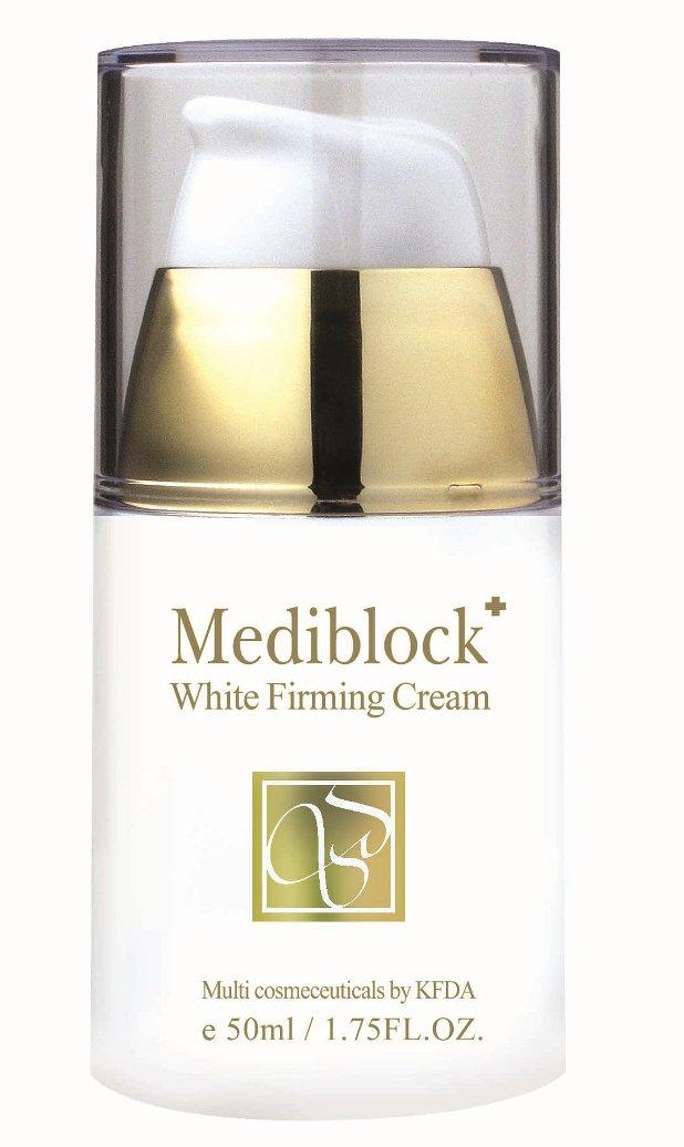 MEDIBLOСK Крем отбеливающий для лица / Whitening Firming Cream 50млКремы<br>Крем способствует отбеливанию пигментных пятен в более зрелом возрасте, способствует повышению упругости кожи, усиливает выработку коллагена и эластина, блокирует выработку свободных радикалов. В целом оказывает омолаживающее действие на кожу лица. Активные ингредиенты: арбутин, аденозин, ресвератрол, лакричник, витамин С, бета глюкан, коэнзим Q10. Способ применения: на предварительно очищенную кожу лица, шеи и зону декольте нанести небольшое количество крема, распределить лёгкими массажными движениями до полного впитывания.<br><br>Вид средства для лица: Отбеливающий<br>Назначение: Пигментация