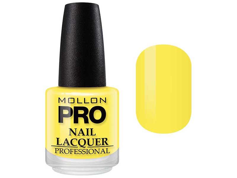MOLLON PRO Лак для ногтей с закрепителем / Hardening Nail Lacquer  104 15млЛаки<br>Профессиональный лак для ногтей с усиленным блеском.&amp;nbsp;Яркий, соблазнительный и удобный в применении лак, созданный по безопасной формуле Save and Care, не содержит дибутилфталата, толуола, формальдегида и надолго сохраняет эстетический вид.&amp;nbsp;Входящая в состав лака специальная формула с содержанием кальция, фосфора и цинка оказывает восстанавливающую, ухаживающую и защитную функцию для ногтей. Профессиональная кисточка великолепно распределяет лак на ногтевой пластинке, не оставляя разводов. Способ применения: чтобы продлить стойкость стилизации, необходимо применить Base Coat Nail Repair перед нанесением лака, затем 2 слоя Nail Lacquer и Top Coat Quick Dryer.<br><br>Цвет: Желтые<br>Класс косметики: Профессиональная<br>Виды лака: Глянцевые