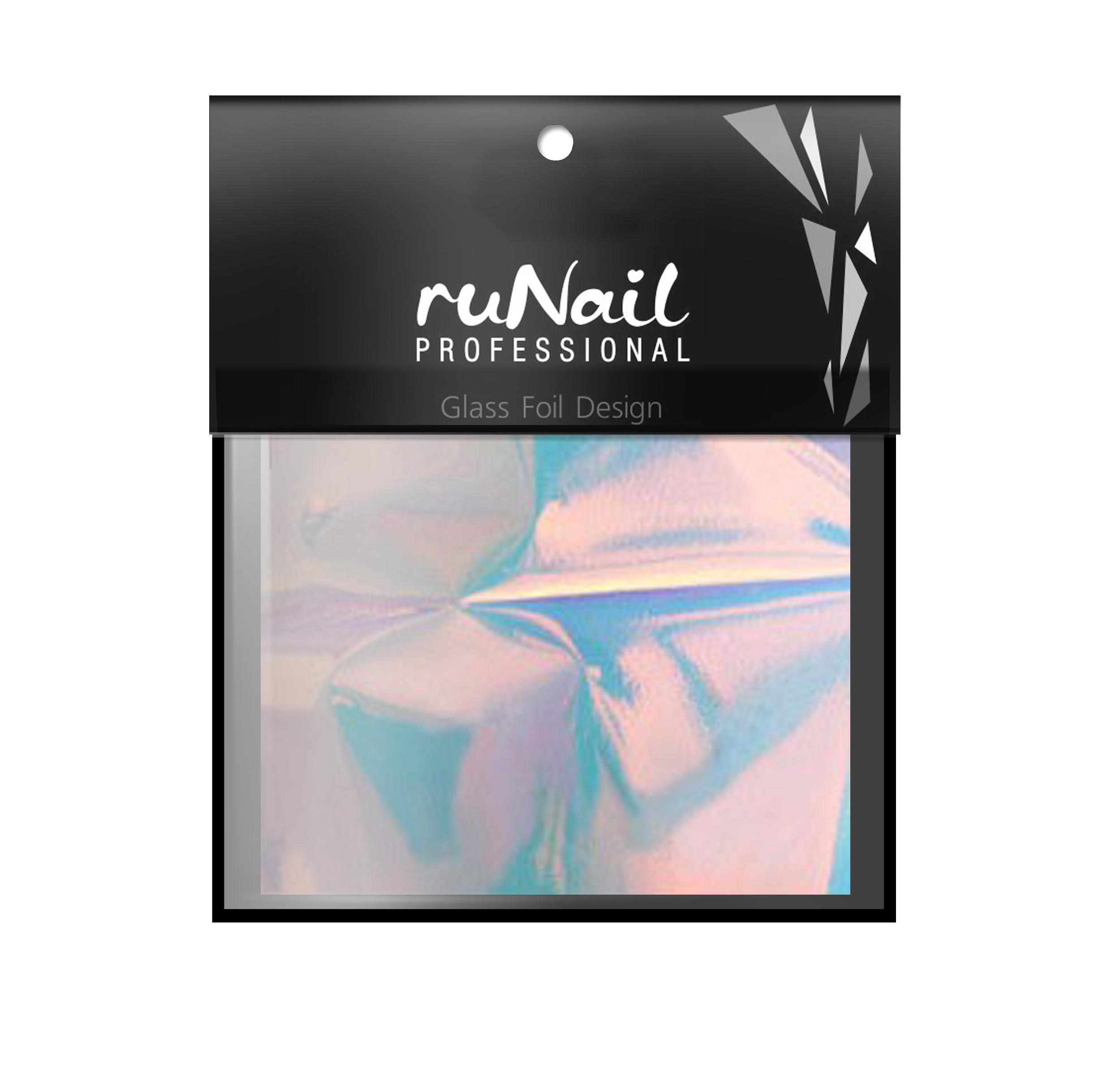 RuNail Дизайн для ногтей: фольга с эффектом Битое стекло(цвет голубой), 4х100смФольга<br>Фольга   это тонкая полупрозрачная голографическая пленка, которая создает на ногтях модный эффект битое стекло или стеклянные ногти. Способ применения:&amp;nbsp; 1. Нарезать фольгу небольшими кусочками, по форме напоминающими осколки стекла. При помощи пинцета аккуратно выложить кусочки на любое полимеризованное покрытие с липким слоем (база, топ или цвет). Полимеризовать в УФ-лампе 36Вт   1 минуту, в LED лампе от 30 секунд. 2. Покрыть дизайн топом и полимеризовать в УФ-лампе 36Вт   1 минуту, в LED лампе от 30 секунд. Совет: Для придания объема дизайну, кусочки фольги нужно обвести по контуру гель-краской белого или черного цвета.<br>