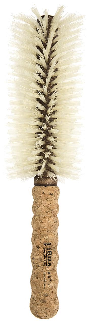 IBIZA HAIR Щетка круглая, гибридная для укладки волос, осветленная щетина, диаметр 65 мм (пробка) - Брашинги
