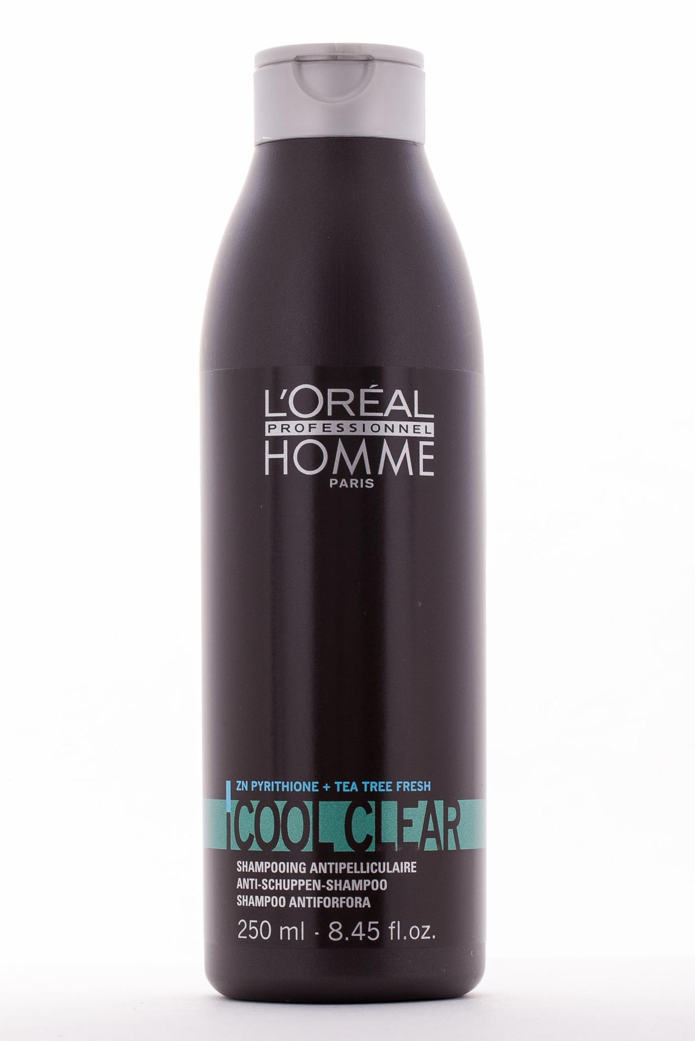 LOREAL PROFESSIONNEL Шампунь против перхоти Кул Клир / HOMME 250млШампуни<br>Шампунь работает сразу же, после первого применения. Излечивает корни волос и устраняет перхоть, волосы легко расчесываются и укладываются, в прическу. Шампунь устраняет неприятный визуальный эффект, восстанавливает водно-жировой баланс, эффективно борется с зудом кожи головы. Благодаря уникальному составу, шампунь в течение длительного времени поддерживает волосы чистыми и увлажненными, активно борется с жирным блеском, устраняет нарушение структуры волос, обеспечивает необходимое питание. Волосы приобретают упругость и блеск. Результат. После первого применения исчезает зуд и перхоть. Волосы получают питание изнутри, хорошо увлажнены, неизбежно становятся мягкими и шелковистыми. Прическа приобретает ухоженный вид.&amp;nbsp; Активные ингредиенты:&amp;nbsp;вода, лауретсульфат натрия, протеины, свободные аминокислоты, липиды, витаминный комплекс, ухаживающая формула, пиритон цинка и альфа-бисаболол. Способ применения:&amp;nbsp;нанесите небольшое количество шампуня на волосы, вспеньте, массирующими движениями нанесите на кожу головы и волосы по всей длине, а затем смойте большим количеством воды.<br><br>Объем: 250<br>Назначение: Перхоть