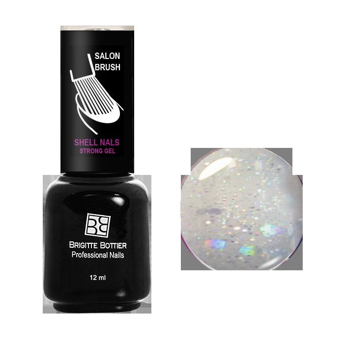 BRIGITTE BOTTIER 978 гель-лак для ногтей, серебряный с большими блестками / Shell Nails 12 мл