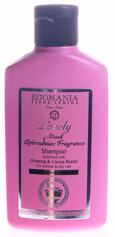 EGOMANIA Шампунь с женьшенем и маслом какао для нормальных и сухих волос / LOVELY 100млШампуни<br>Шампунь с Женьшенем и маслом Какао предназначен для очищения нормальных и сухих волос. Придает тонус и питает волосы, не раздражает кожу головы, позволяет сохранить цвет волос. В результате блестящие, мягкие волосы, с необходимым увлажнением. Активные ингредиенты: Мускус, масла аргана, какао, сладкого миндаля, экстракт женьшеня, граната, грязь Мертвого моря. Способ применения: Шампунь наносят на влажные волосы, вспенивают и смывают теплой водой.<br>