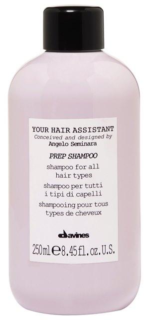 DAVINES SPA Шампунь универсальный для подготовки волос к укладке / Your Hair Assistant Prep shampoo 250млШампуни<br>Я хотел создать сбалансированный шампунь с очищающими и увлажняющими свойствами, уникальный, но при этом подходящий для всех типов волос.  Анджело Семинара. Увлажняющий питательный шампунь с насыщенной и богатой пеной. Подходит для всех типов волос. Мягкая формула деликатно очищает волосы, удаляет остатки стайлинга, оставляя волосы мягкими и легкими, подготовленными к следующему шагу. Без сульфатов и парабенов. Активные ингредиенты: комбинация мягких поверхностно-активных веществ деликатно очищает волосы, не перегружая их. Способ применения: равномерно нанести на влажные волосы, помассировать, тщательно смыть.<br><br>Объем: 250 мл<br>Типы волос: Для всех типов