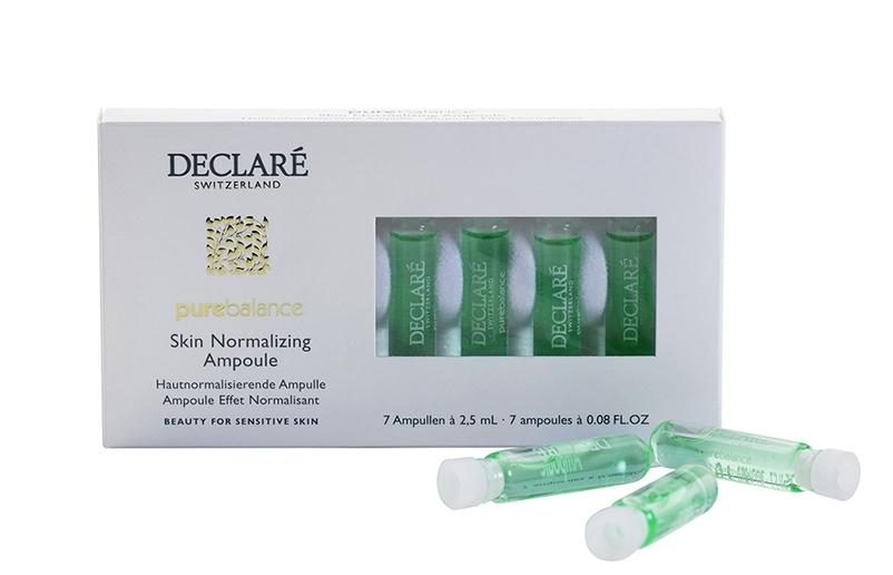 DECLARE Концентрат регулирующий жирность кожи в ампулах / Pure Balance Skin Normalizing 7*2,5млАмпулы<br>Концентрат приводит в норму функционирование сальных желез кожи, что сокращает выделения кожного жира. Средство сужает поры и придает коже бархатную матовость. Концентрат избавляет кожу от назойливого жирного блеска на целый день. Продукт превосходно очищает и увлажняет кожу, придавая ей ухоженный здоровый вид. Эффективно предотвращает засорение пор, уменьшает (нормализирует) выработку жира сальными железами, оказывает антибактериальный эффект. Для жирной и комбинированной кожи. Активные ингредиенты: экстракт календулы, экстракт корня иглицы понтийской, экстракт конского каштана, центелла азиатская, пантенол, дрожжевой протеин, гиалуроновая кислота. Способ применения: нанести на очищенную кожу лица небольшое количество средства. Применять утром и/или вечером. После этого нанести основной крем-уход (не используйте совместно с питательным кремом, поскольку это снизит эффективность концентрата).<br><br>Вид средства для лица: Антибактериальный