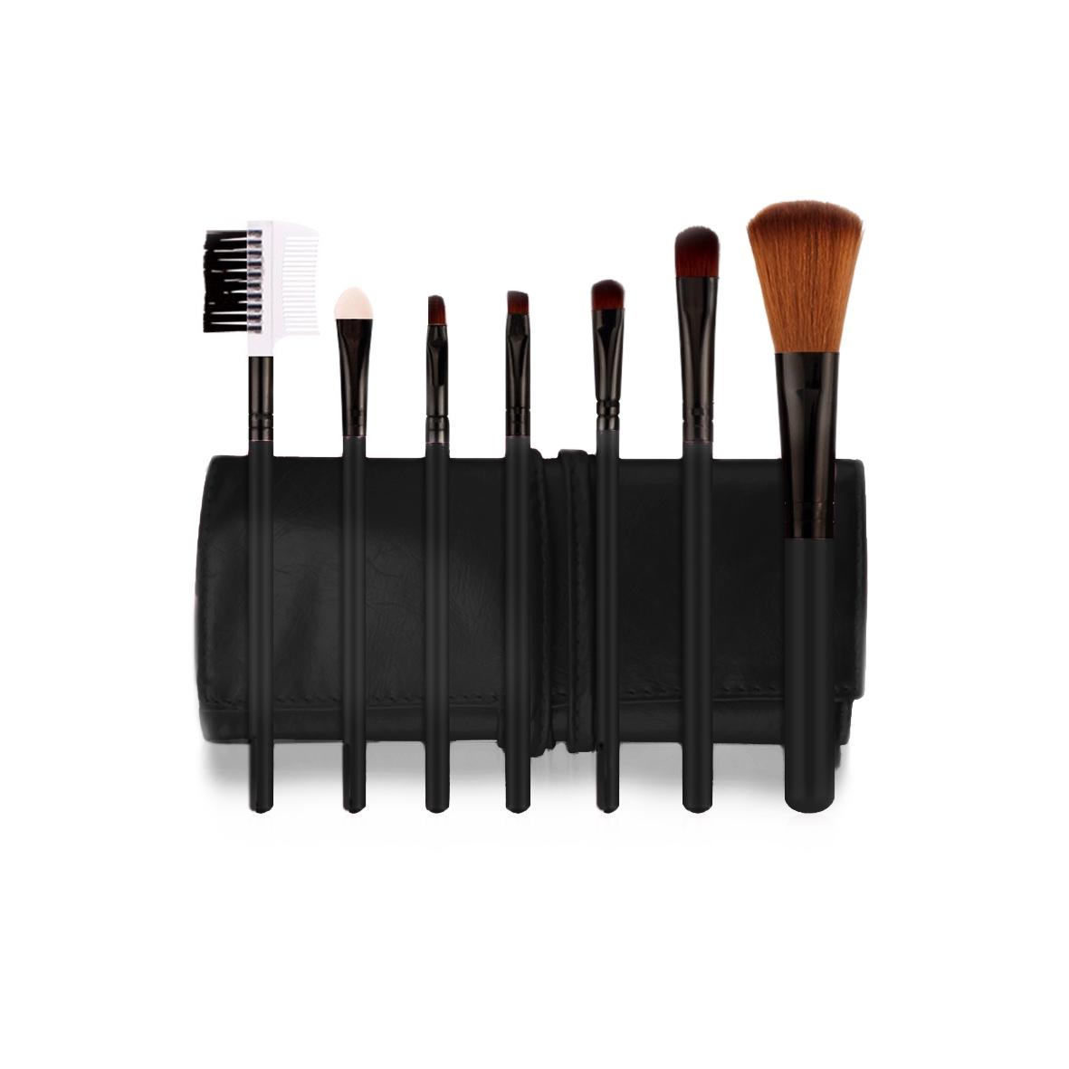 POSH Набор кистей для профессионального макияжа (волокно кинеколон), черный кожаный чехол 7шт