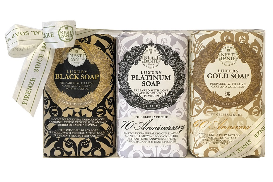 NESTI DANTE Набор мыла для тела (юбилейное золотое + юбилейное платиновое + роскошное черное) / Luxury Gold Platinum Black 3*250 г -  Мыла