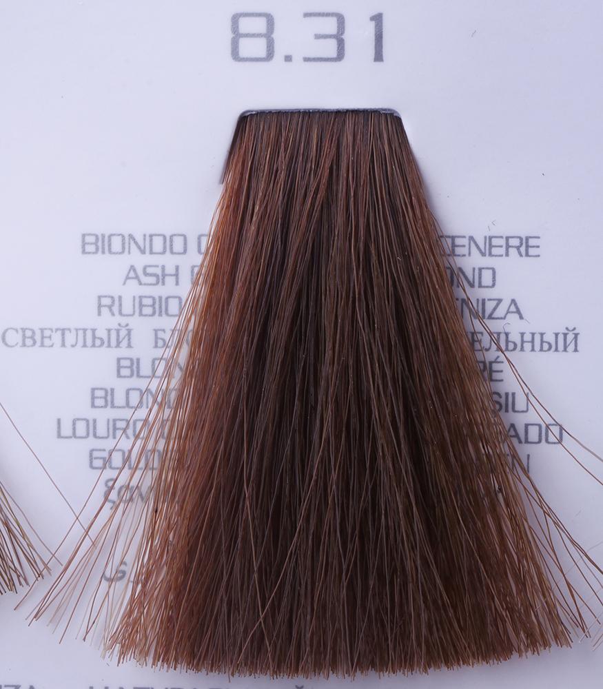 HAIR COMPANY 8.31 краска для волос / HAIR LIGHT CREMA COLORANTE 100млКраски<br>8.31 светло-русый золотисто-пепельныйHair Light Crema Colorante   профессиональный перманентный краситель для волос, содержащий в своем составе натуральные ингредиенты и в особенности эксклюзивный мультивитаминный восстанавливающий комплекс. Минимальное количество аммиака позволяет максимально бережно относится к структуре волоса во время окрашивания. Содержит в себе растительные экстракты вытяжку из арахиса, лецитин, витамин А и Е, а так же витамин С который является природным консервантом цвета. Применение исключительно активных ингредиентов и пигментов высокого качества гарантируют получение однородного, насыщенного, интенсивного и искрящегося оттенка. Великолепно дает возможность на 100% закрасить даже стекловидную седину. Наличие 6-ти микстонов, а так же нейтрального бесцветного микстона, позволяет достигать получения цветов и оттенков. Способ применения: смешать Hair Light Crema Colorante с Hair Light Emulsione Ossidante в пропорции 1:1,5. Время воздействия 30-45 мин.<br><br>Вид средства для волос: Восстанавливающий<br>Класс косметики: Профессиональная