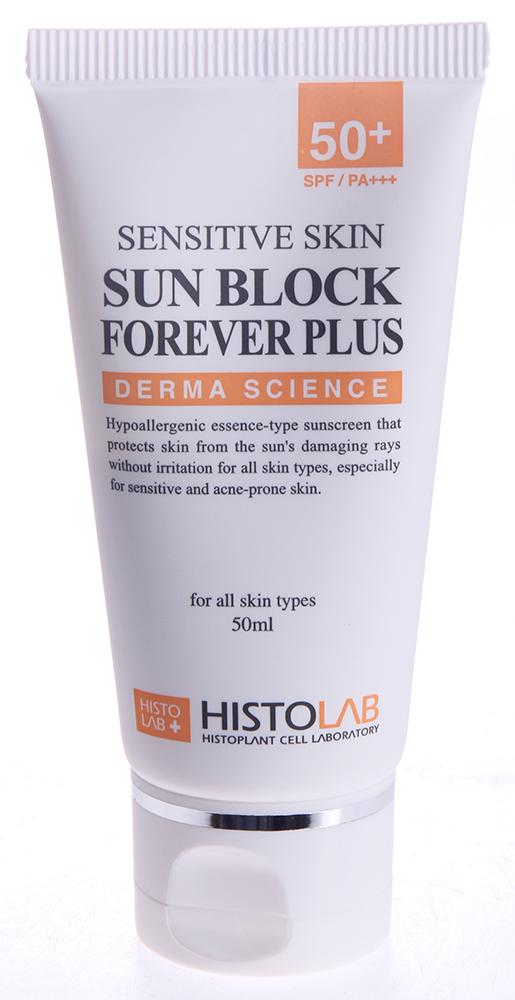 HISTOLAB Эссенция солнцезащитная с SPF50+ / Sun Block Forever 50млСыворотки<br>Защищает от инсоляции, увлажняет, снижает реактивность кожи. Оказывает на кожу мощное антиоксидантное действие, предупреждает появление пигментаций. Подходит для всех типов кожи. Активные ингредиенты: сок листа алое вера, экстракты портулака огородного, ореха айланта высочайшего, корня лакричника обыкновенного, семян сои, цветка хризантемы индийской, ромашки, листа зелёного чая, коры бархата амурского, корня тутового дерева, корня пуэрарии лопастной, листа хурмы восточной, коры корицы китайской, листа полыни, корня шлёмника широколистного, листа розмарина лечебного, корня женьшеня азиатского, риса посевного, шиитаке, корня/листа дудника, лимонная кислота, арбутин, пчелиный воск, витамины А, С, В5, оксид цинка. Способ применения: нанесите крем на кожу и равномерно распределите.<br><br>Вид средства для лица: Пчелиный