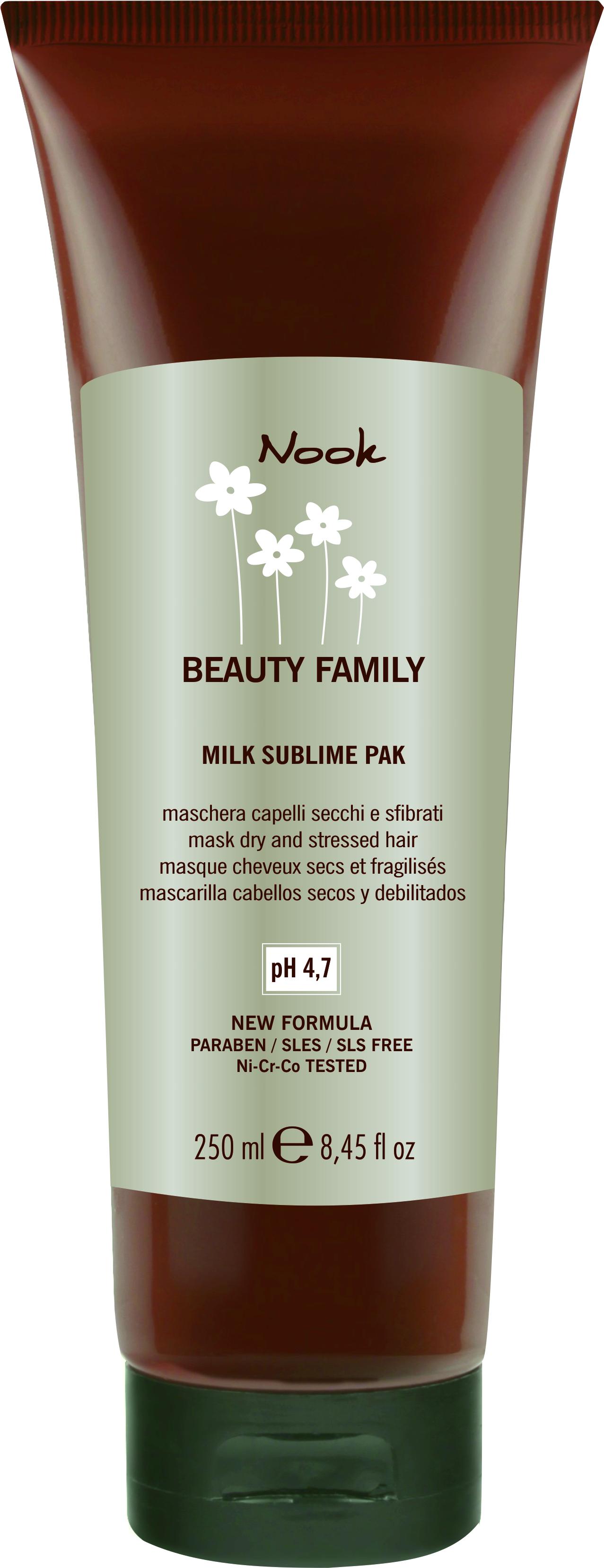 NOOK Маска для поврежденных волос Ph 4,7 / Milk Sublime Pak BEAUTY FAMILY 250 мл