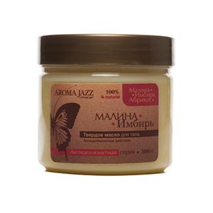 AROMA JAZZ Масло массажное твердое для тела Малина и имбирь 300грМасла<br>Смягчает, питает и разглаживает кожу, способствует нормализации внутриклеточного обмена, стимулирует кровообращение, способствует выведению шлаков и расщеплению жировых клеток. Активные ингредиенты: масла кокоса, пальмы, абрикоса, растительное масло с витамином Е; пчелиный воск; экстракты горчицы, имбиря, малины; натуральная эссенция малины; эфирное масло имбиря. Способ применения: для проведения классического и баночного массажа, антицеллюлитных обертываний, втирания после душа, горячих ванн и SPA-процедур в салоне и дома.<br><br>Объем: 300 гр<br>Вид средства для тела: Массажный