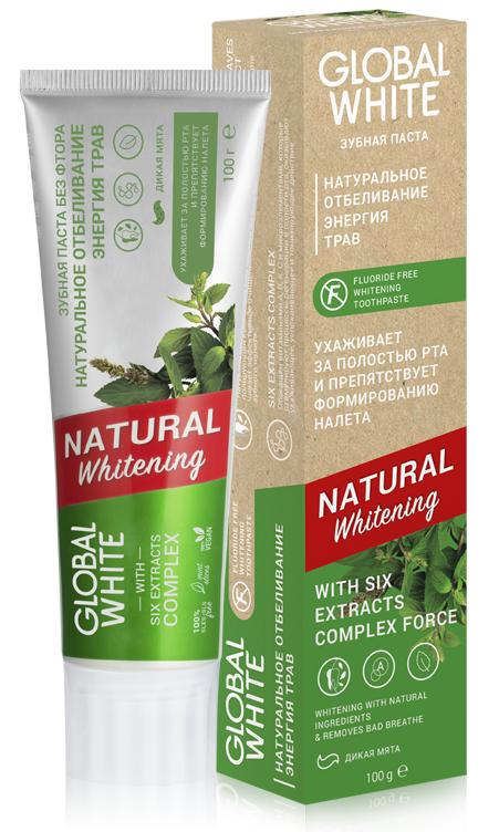 Купить GLOBAL WHITE Паста зубная натуральное отбеливание, энергия трав / Natural whitening 100 г