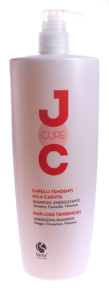 BAREX Шампунь против выпадения с Имбирем, Корицей и Витаминами / JOC CURE 1000млШампуни<br>Созданный на основе специальной формулы, шампунь восстанавливает кожу головы и улучшает структуру волос. Волосы становятся крепкими и полными жизненных сил; кожа головы   восстановлена, а вы испытываете приятное ощущение свежести. Корица и имбирь: оказывают стимулирующее действие. Витамины B5 и B6: питают волосы, укрепляя их и повышая их устойчивость к вредным воздействиям. Активные ингредиенты: корица, имбирь, витамины B5 и B6, эфирное масло розмарина. Способ применения: нанести шампунь на влажные волосы и кожу головы легкими массажными движениями до образования пены, оставить на несколько минут, затем смыть водой. Для достижения наилучших результатов, использовать вместе с ИНТЕНСИВНОЙ ТЕРАПИЕЙ ПРОТИВ ВЫПАДЕНИЯ ВОЛОС JOC CURE.<br><br>Типы волос: Для всех типов<br>Назначение: Выпадение