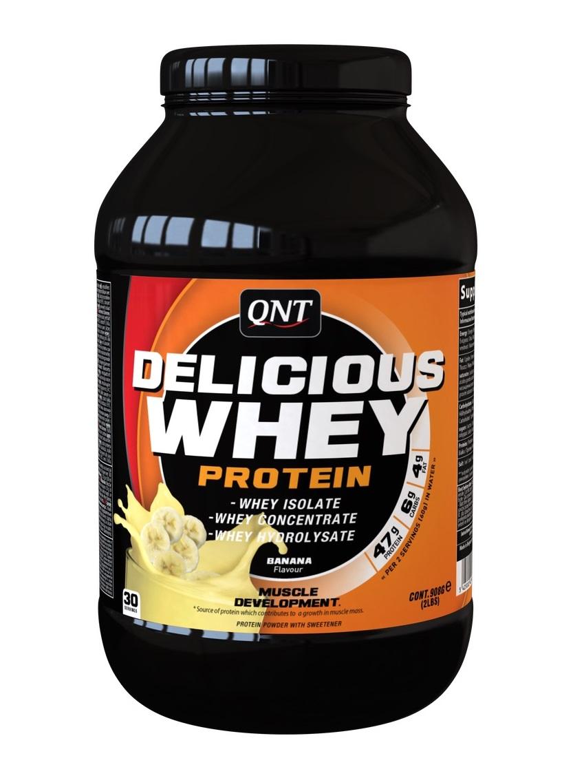 Купить QNT Добавка биологически активная к пище Делишес вей протеин, банан / Delicious Whey Protein Powder Banana 908 г