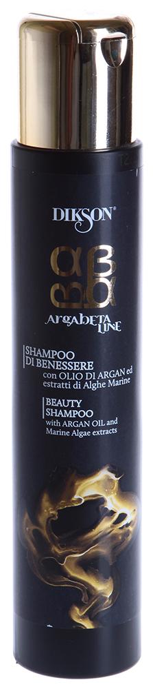 DIKSON Шампунь питательный для волос / ARGABETA BEAUTY SHAMPOO 250млШампуни<br>Уникальный восстанавливающий шампунь с маслом Аргании и экстрактом морских водорослей. Мягко очищает волосы и кожу головы. Сбалансированный комплекс морских водорослей и масла Аргании, обладает мощным восстанавливающим, укрепляющим и увлажняющим действием, придает волосам богатый запас энергии и жизненной силы. Витамины и бета-каротин укрепляет структуру волос по длине, защищают волосы от УФлучей, и обладают термозащитным эффектом. Морские водоросли максимально богаты жирными кислотами, полисахаридами, аминокислотами, альгиновой кислотой, витаминами и их предшественниками (А, С, D, B1, B2, B3, B6, B12, E, R, PP), ферментами, минеральными веществами (К, Na, Ca, Mg, I, Cl, S, Si). Токоферол (Витамин Е) &amp;ndash; природный антиоксидант. Бета-каротин, входящий в состав данного продукта делает структуру волоса эластичной и плотной, укрепляет корни волос, нейтрализует свободные радикалы. Фруктовые кислоты нормализируют pH баланс кожи и волос, способствуют смягчению и восстановлению гидролипидного баланса. Активные ингредиенты: Масло Аргании, морские водоросли, токоферол, фитостерины, полифенол, бета-каротин, фруктовые кислоты. Способ применения: Равномерно распределить по влажным волосам. Легкими массажными движениями взбить пену, затем тщательно смыть водой.<br><br>Объем: 250<br>Вид средства для волос: Питательный<br>Типы волос: Для всех типов