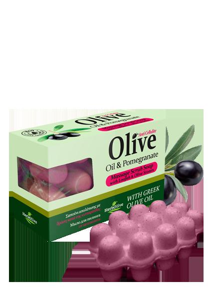 MADIS Мыло массажное с экстрактом граната для пилинга против целлюлита / HerbOlive 100 г