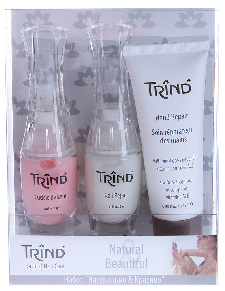 TRIND Набор для ногтей (Cuticle Balsam + Nail Repair + Hand Repair Mini) / Natural  Beautiful Set