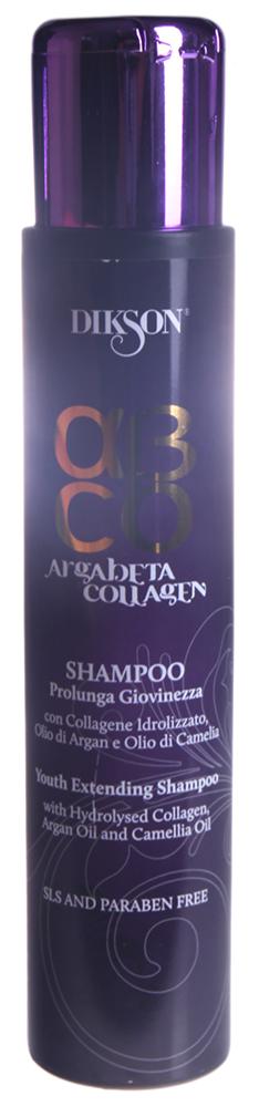 DIKSON Шампунь коллагеновый / ARGABETA COLLAGENE 250млШампуни<br>Мягко очищает волосы, питая и улучшая их структуру. Коллаген продлевает молодость волос, создавая плотность и объем, устраняя последствия стресса. Масло Арганы, богатое витамином Е увлажняет кожу, питает и действует как антиоксидант. Масло Камелии известно своей способность придавать волосам блеск, сияние и мягкость. Не содержит SLS (лаурилсульфат натрия), не содержит парабенов. Активные ингредиенты: коллаген, масло арганы, масло камелии.Способ применения: равномерно распределить на влажных волосах, хорошо помассировать и ополоснуть водой. Для оптимального результата завершить процедуру маской и молочком Продление молодости.<br>