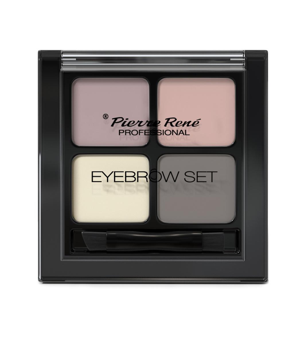 PIERRE RENE PROFESSIONAL Палетка для бровей 01 (тени 3 шт, воск для фиксации) / Eyebrow set