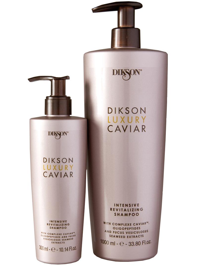 DIKSON Шампунь интенсивный ревитализирующий с Complexe Caviar / LUXURY CAVIAR shampoo 1000млШампуни<br>Мягко очищает волосы и придаёт им силу, омолаживая и делая их более плотными. Совместное воздействие экстракта черной&amp;nbsp;икры, олигопептидов и водорослей Fucus Vesiculosus, входящих в состав Complexe Caviar , помогают превратить ослабленные, тусклые и состаренные временем волосы в сильные, сияющие и помолодевшие. Для достижения оптимальных результатов использовать в комплексе с другими средствами линии DIkson luxury Caviar. Способ применения: нанести на влажные волосы и помассировать, ополоснуть и повторить при необходимости.<br><br>Объем: 1000 мл