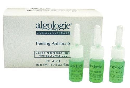 ALGOLOGIE Пилинг Анти-акне 10*3млПилинги<br>Показанием к применению Algologie Пилинг Анти-акне является, соответственно, угревая сыпь воспалительного или невоспалительного характера. Органические кислоты, взаимно усиливая свое действие в сочетании, осуществляют растворение и отшелушивание ороговевших клеток, тонизирующее воздействие на кожу, растворение постакне рубцов, вскрытие комедонов, дренаж застойной жидкости и ликвидацию инфильтратов. Экстракты лекарственных растений и водорослевый комплекс Фикол LD оказывают успокаивающее и бактерицидное действие, снимают воспаление, ускоряют эпителизацию тканей и затягивание язвочек.  Активные ингредиенты: Вода, кислоты: лимонная, трихлоруксусная, альфа-оксипропионовая, салициловая; экстракты плюща, лопуха, сапонарии, шалфея, лимона; комплекс Фикол LD, фикосахариды, витамин B6, вспомогательные вещества.  Способ применения: Курс состоит из 3 &amp;mdash; 6-8 процедур с интервалом 7   10 дней. Обычно процедура включает в себя стадию предпилинга   подготовка кожи слабыми концентрациями гликолевой кислоты, пилинг и нейтрализацию, постпилинговый уход с помощью противовоспалительных и питательных средств. Только для профессионального применения.  Внимание! Необходимые концентрации и дозы способен рассчитать только специалист! После пилинга рекомендовано наносить Нейтрализатор Algologie.<br><br>Вид средства для лица: Тонизирующий<br>Класс косметики: Профессиональная<br>Типы кожи: Проблемная<br>Назначение: Акне, постакне