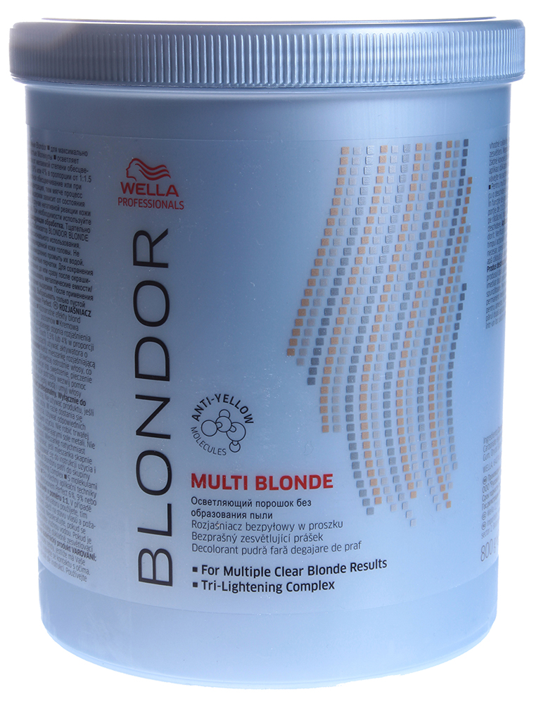 WELLA Порошок для блондирования / Blondor 800гПудры<br>Tri-Lightening технология содержит антижелтые молекулы для получения чистого результата блондирования. До 7 уровней осветления. Tri-Lightening технология с антижелтыми молекулами для получения чистого результата блондирования. Осветление до 7 ступеней. Многоцелевое применение и различные пропорции смешивания. Рекомендации по смешиванию: Смешивайте с Welloxon Perfect 6%, 9% или 12% или с эмульсией Color Touch 1.9% или 4% в неметаллической емкости. Пропорция смешивания от 1:1,5 до 1:2 (не 1:1) При контакте состава с кожей головы, используйте Welloxon 6% как максимально возможный процент перекиси. Нанесение и время выдержки: Нанесите осветляющую массу на немытые волосы. Время воздействия зависит от состояния волос. Проверяйте результат каждые 5-10 мин. Максимальное время воздействия 50 минут. При первичном окрашивании наносите осветляющую массу от середины длины и на концы, потом на корни. Последующий уход: Смойте блондирующую массу теплой водой и вымойте волосы шампунем. Нанесите стабилизатор цвета и блеска BLONDOR BLONDE SEAL &amp;amp; CARЕ.<br><br>Тип: Порошок<br>Цвет: Блонд<br>Объем: 800<br>Вид средства для волос: Осветляющая