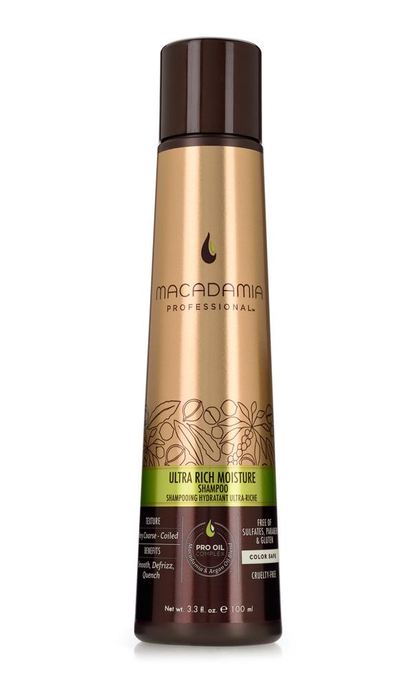 MACADAMIA PROFESSIONAL Шампунь увлажняющий для жестких волос / Ultra rich moisture shampoo 100млШампуни<br>Шампунь Macadamia Professional обеспечивает глубокое увлажнение волос и кожи головы благодаря сочетанию эксклюзивного комплекса PRO OIL COMPLEX, масел авокадо и монгонго. Убирает эффект пушистости, делает волосы мягкими. Содержит UVA/UVB фильтры, сохраняя цвет окрашенных волос. Защищает волосы от неблагоприятных факторов окружающей среды. Преимущества: Гладкость, контроль пушистости Ультра увлажнение Сохранение цвета окрашенных волос Без сульфатов, парабенов и глютена Активные ингредиенты: Масло макадамии, Омега 7, 5 и 3 жирные кислоты обеспечивают увлажнение Масло арганы, Омега 9 жирные кислоты восстанавливают и укрепляют Масло авокадо и монгонго - устраняет эффект пушистости. Состав: Вода, У14-16 Олефин сульфонат натрия, Кокамидопропил Бетаин, Кокамид МоноЭтанолАмин, Изетионат натрия, Масло макадамии, отдушка, Аргановое масло, Масло Авокадо, Масло Монгонго, Гель Алоэ вера, Фосфолипиды, Ацетат Витамина Е, Ретинил пальмитат (витамин А), Аскорбил пальмитат, Глицерин, Пантенол, Аминокислоты Шелка, Гликоль стеарат, Хлорид Натрия, Натрия глицинат кокоил, Диоксид титана, Мика, Оксиды железа, Гуар гидроксипропил-тримониум хлорид, Гидролизованный казеин, PPG-2 Hydroxyethyl Coco/Isostearamide, ППГ-2 гироксиетил коко/изостеарамид, Дисодиум ЕДТА, Кополимер гидролизованного белка пшеницы, Феноксиэтанол, Метилхлороизотиазолин, метилизотиазолинон, Лимонная кислота, Кватерниум-95, Пропандиол, Бензил Салицилат, Бутилфенил Метилпропионал, Гексил Циннамал, Линалоол, Способ применения: нанесите небольшое количество шампуня на влажные волосы, распределите массажными движениями. Смойте. При необходимости, повторите<br><br>Вид средства для волос: Увлажняющий<br>Типы волос: Для всех типов