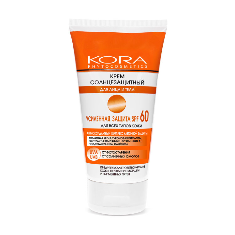 KORA Крем солнцезащитный для лица и тела Усиленная защита SPF 60 150 мл крем kora крем антицеллюлит форте 150 мл